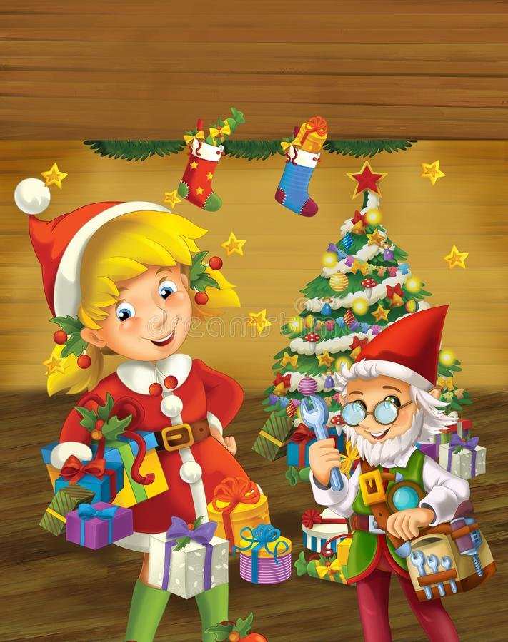 Escena de la historieta con el duende de la Navidad que coloca el árbol de navidad cercano ilustración del vector