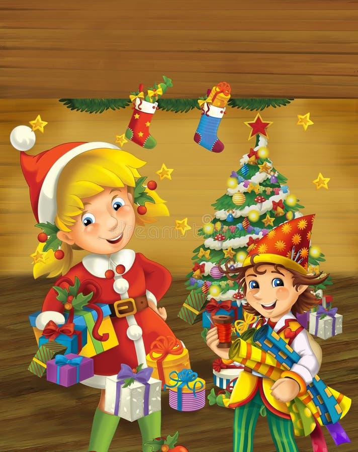 Escena de la historieta con el duende de la Navidad que coloca el árbol de navidad cercano foto de archivo