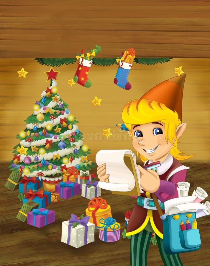 Escena de la historieta con el duende de la Navidad que coloca el árbol de navidad cercano libre illustration