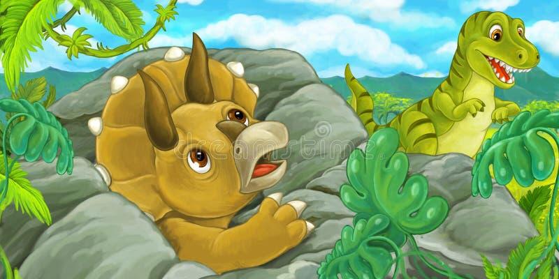 Escena de la historieta con el hidind del triceratops detrás de la roca del rex del tiranosaurio stock de ilustración