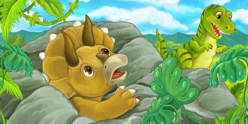 Escena de la historieta con el hidind del triceratops detrás de la roca del rex del tiranosaurio libre illustration