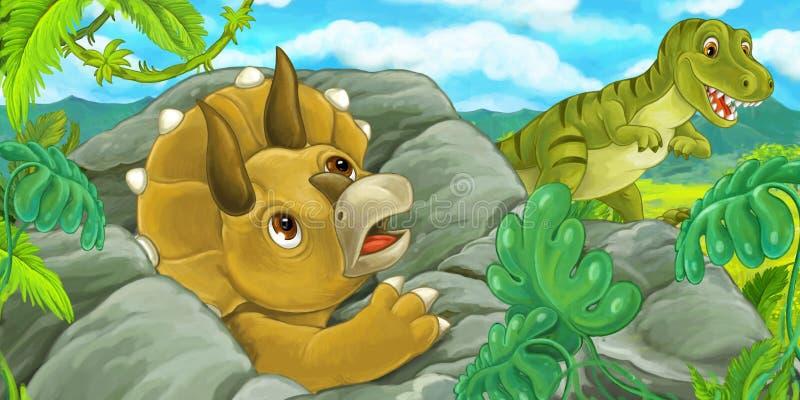 Escena de la historieta con el hidind del triceratops detrás de la roca del rex del tiranosaurio - ejemplo para los niños ilustración del vector