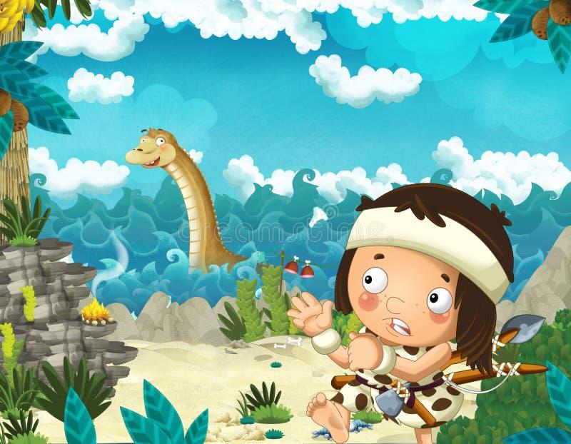 Escena de la historieta con el hombre de las cavernas cerca de la orilla de mar que mira el algún diplodocus gigante feliz y dive stock de ilustración