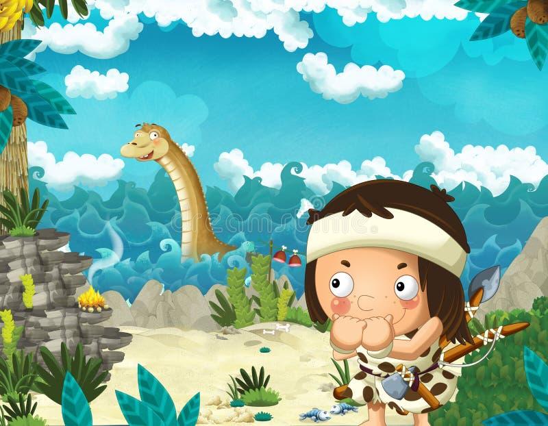 Escena de la historieta con el hombre de las cavernas cerca de la orilla de mar que mira el algún diplodocus gigante feliz y dive ilustración del vector