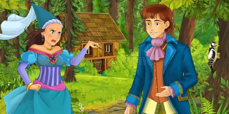 Escena de la historieta con el príncipe joven que viaja y que encuentra la bruja de la princesa y la casa de madera ocultada en e ilustración del vector