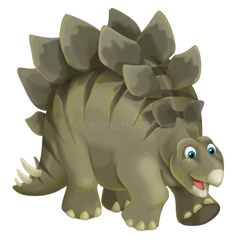 Escena de la historieta con el stegosaurus feliz y divertido del dinosaurio - en el fondo blanco stock de ilustración