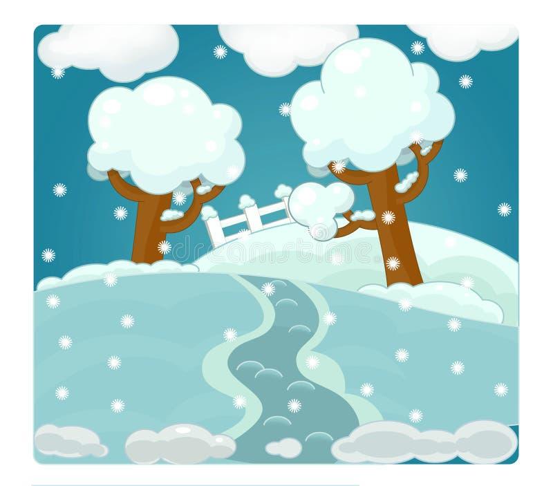 Escena de la historieta con el tiempo - invierno - nevoso libre illustration