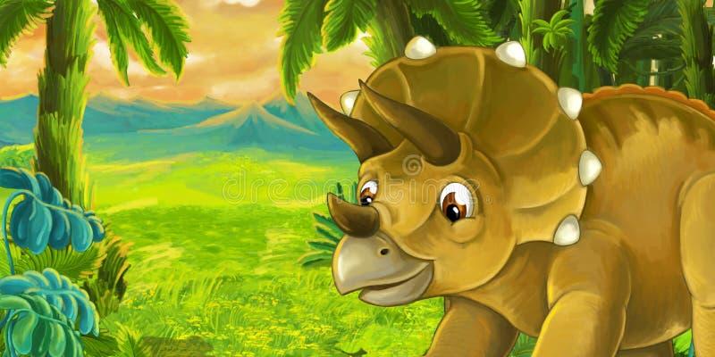 Escena de la historieta con el triceratops del dinosaurio libre illustration