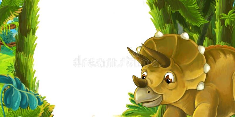 Escena de la historieta con el triceratops del dinosaurio ilustración del vector