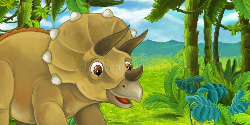 Escena de la historieta con el triceratops en la selva ilustración del vector