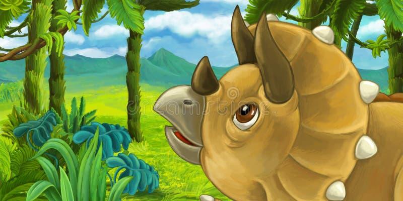 Escena de la historieta con el triceratops en la selva libre illustration