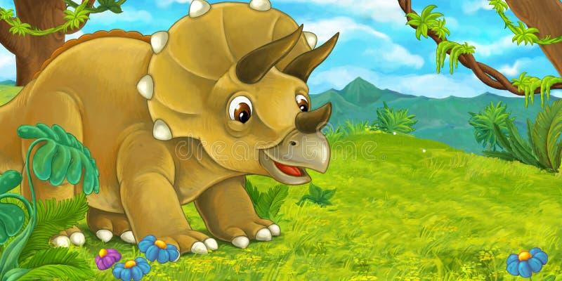 Escena de la historieta con el triceratops feliz que se coloca y que mira stock de ilustración