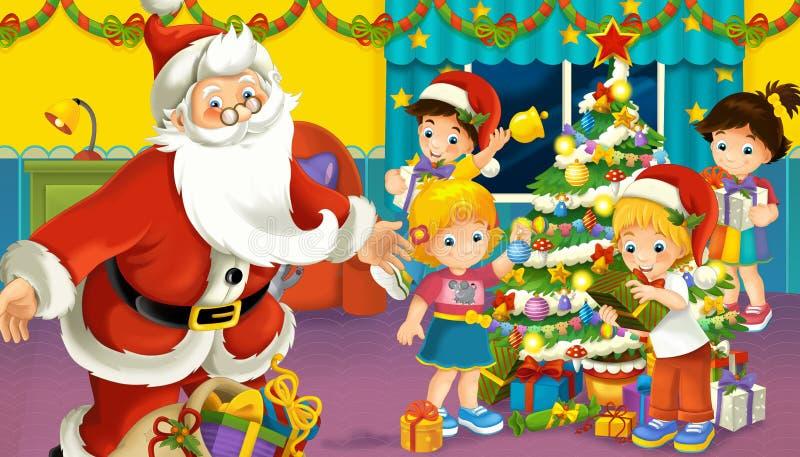 Escena de la historieta con los muchachos y las muchachas en un cuarto con Papá Noel stock de ilustración