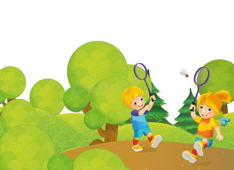 Escena de la historieta con los niños que juegan a tenis en el parque stock de ilustración