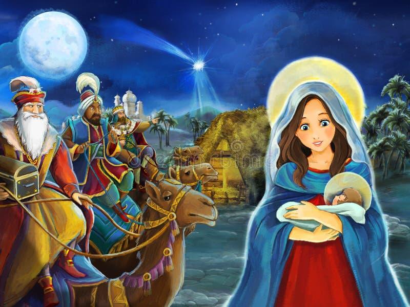 Escena de la historieta con los reyes de Maria y de Jesus Christ y el viajar libre illustration