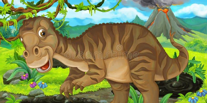 Escena de la historieta con maiasauria feliz del dinosaurio cerca de entrar en erupción el volcán libre illustration