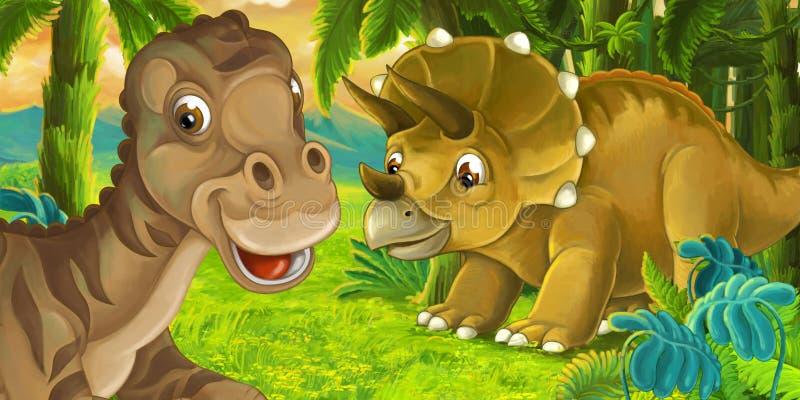 Escena de la historieta con maiasauria feliz del dinosaurio cerca del triceratops stock de ilustración