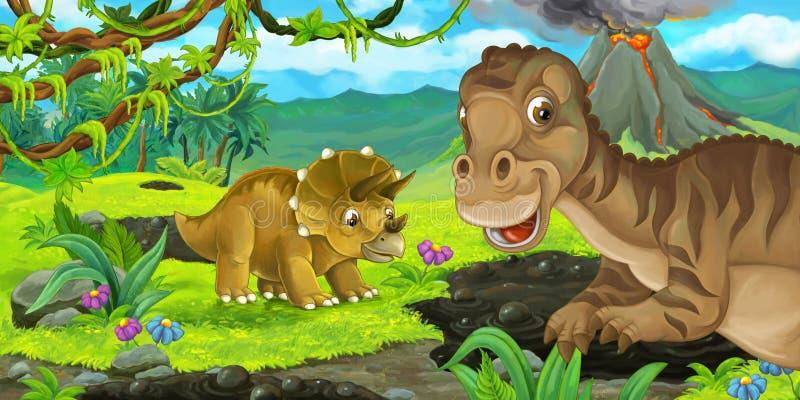 Escena de la historieta con maiasauria y el triceratops felices del dinosaurio cerca de entrar en erupción el volcán libre illustration