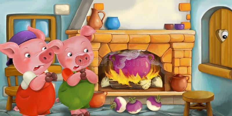 Escena de la historieta de cerdos asustados dentro de la casa vieja stock de ilustración