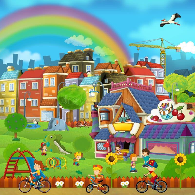 Escena de la historieta de una calle y de un parque - pequeña ciudad - etapa para diverso uso - niños que juegan en el parque stock de ilustración
