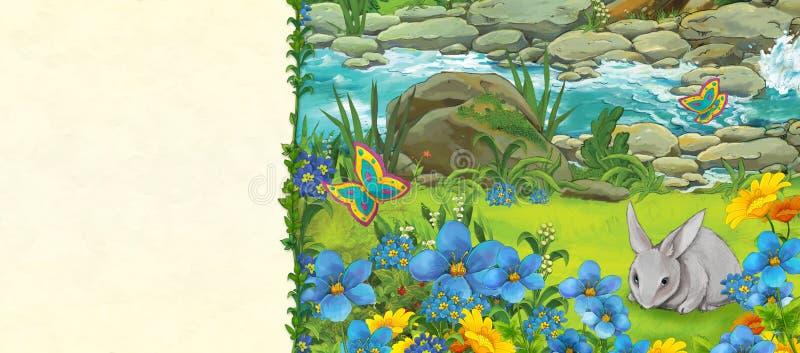 Escena de la historieta del bosque y del conejo cerca de la corriente - página del prado de título con el espacio para el texto ilustración del vector