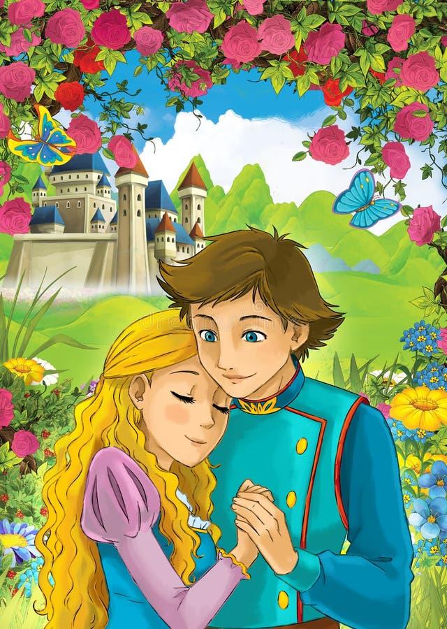 Escena de la historieta de pares cariñosos - príncipe y princesa - escúdese en el fondo ilustración del vector