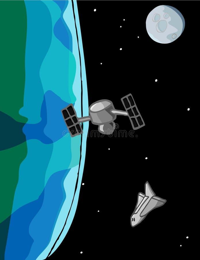 Escena de la lanzadera de espacio ilustración del vector