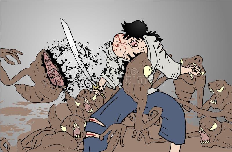 Escena de la lucha stock de ilustración