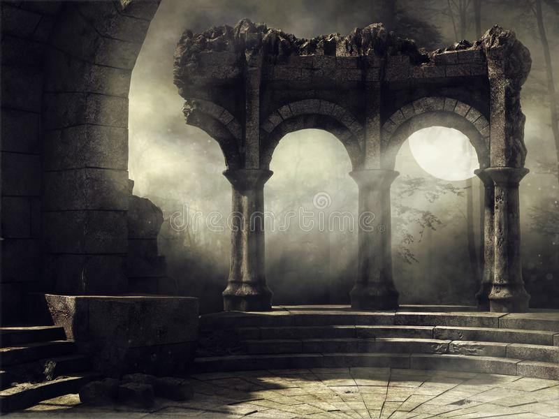 Escena de la Luna Llena con ruinas viejas ilustración del vector