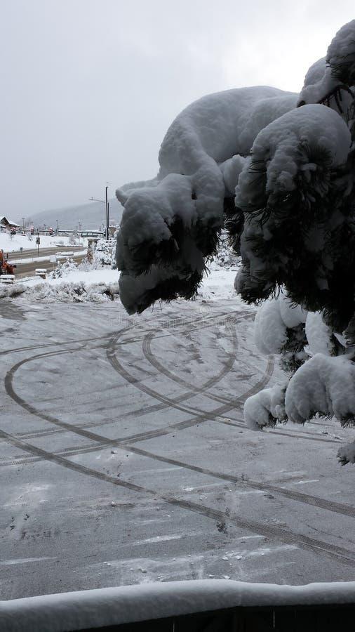 Escena de la montaña del invierno foto de archivo