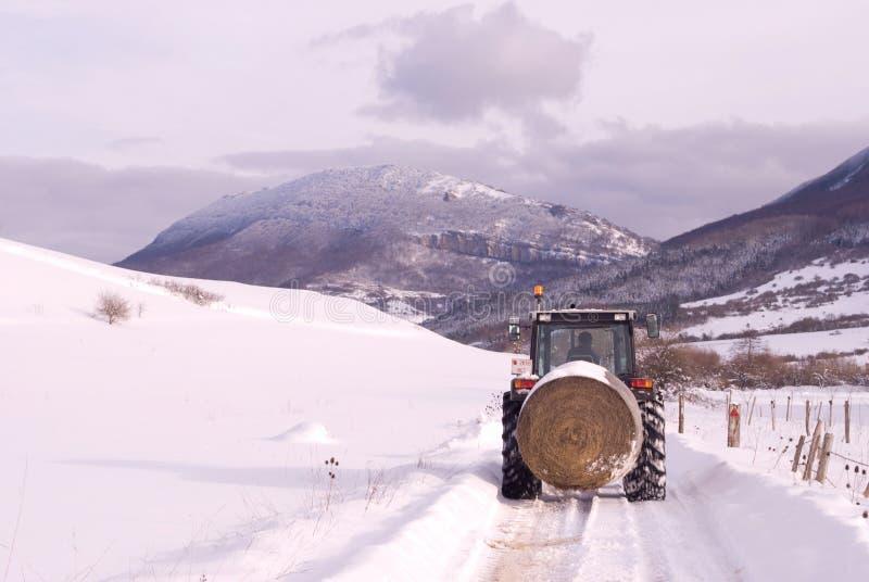 Escena de la montaña del invierno con el granjero en el tractor. imagen de archivo