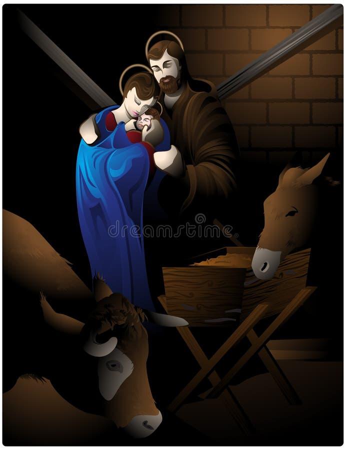 Escena de la natividad. stock de ilustración