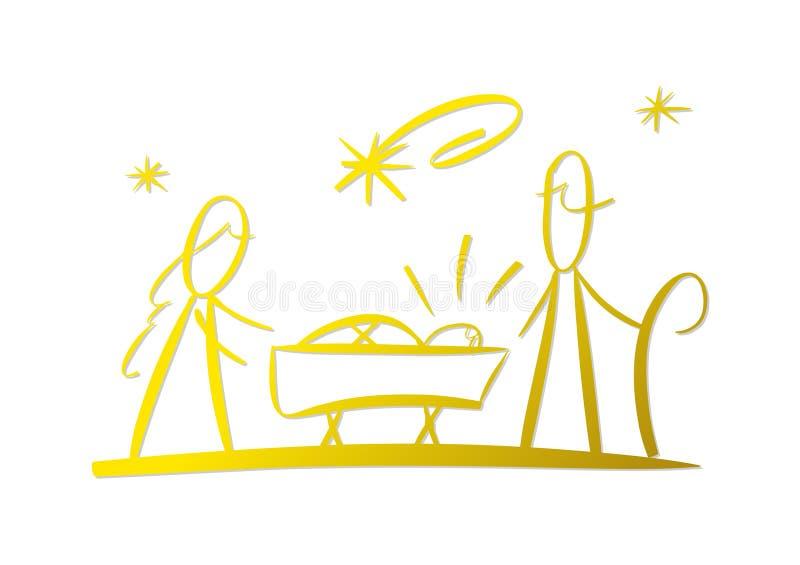 Escena de la natividad ilustración del vector