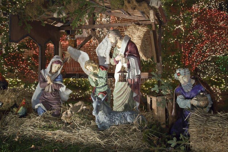 Escena de la natividad de la Navidad en Brooklyn Nueva York imagen de archivo libre de regalías