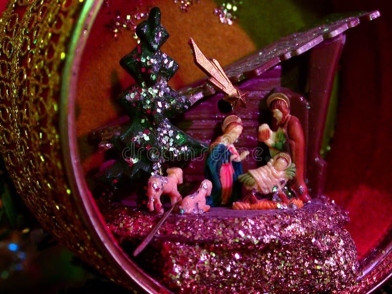 Escena de la natividad del ornamento de la Navidad imagen de archivo libre de regalías