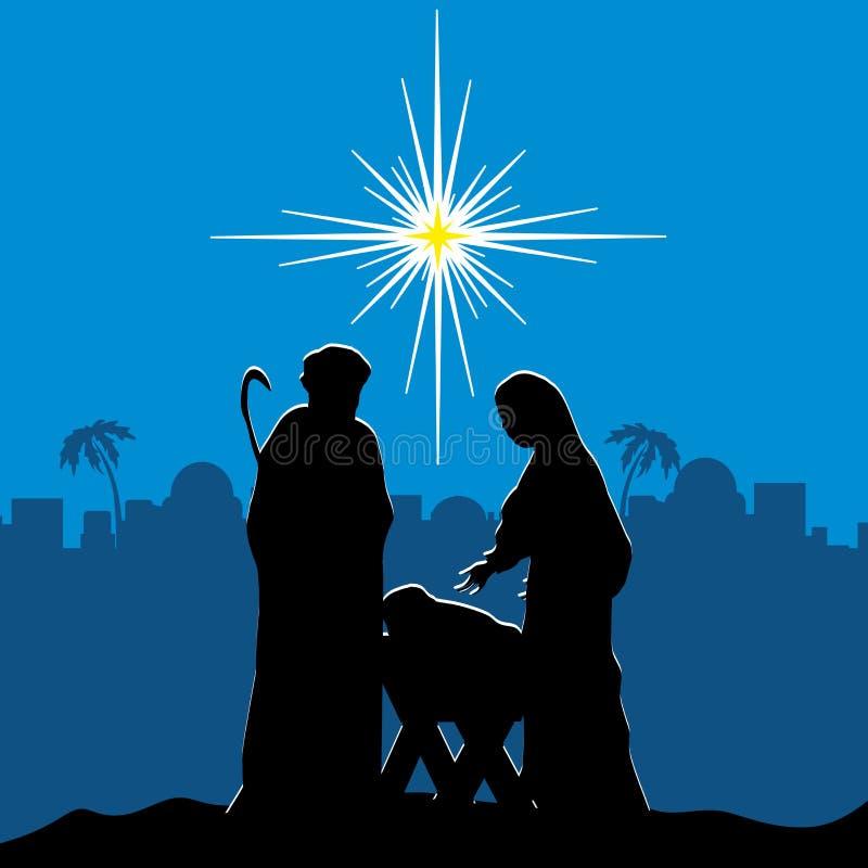 Escena de la natividad Feliz Navidad stock de ilustración
