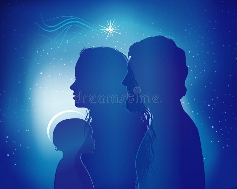 Escena de la natividad de la Navidad Perfiles azules de la silueta con José - Maria y el bebé Jesús libre illustration