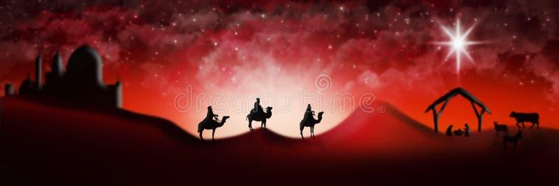 Escena de la natividad de la Navidad de tres unos de los reyes magos de los hombres sabios que van a encontrar vagos imagen de archivo