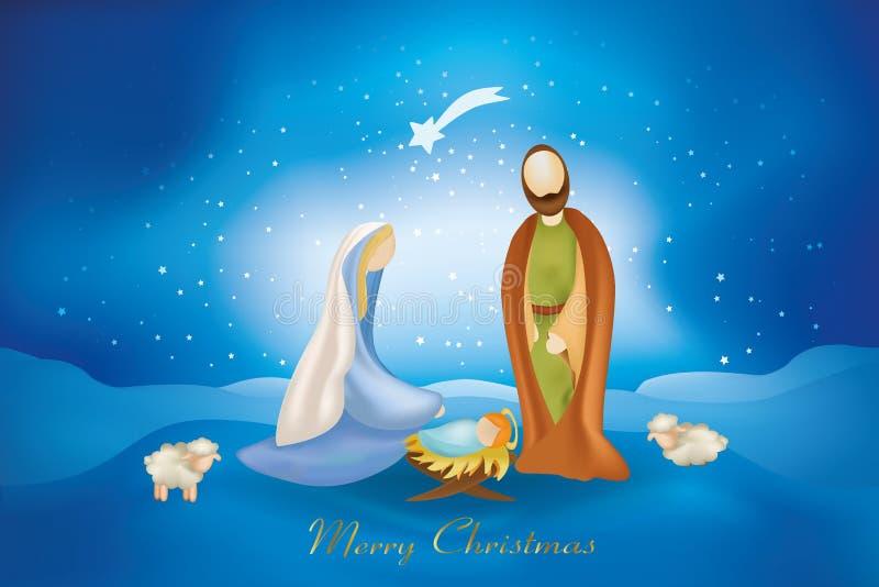 Escena de la natividad de la pizca de las tarjetas de Navidad en fondo azul ilustración del vector
