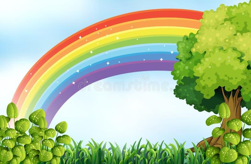 Escena de la naturaleza con el arco iris stock de ilustración