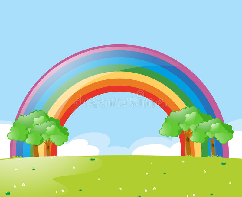 Escena de la naturaleza con el arco iris en el d3ia ilustración del vector