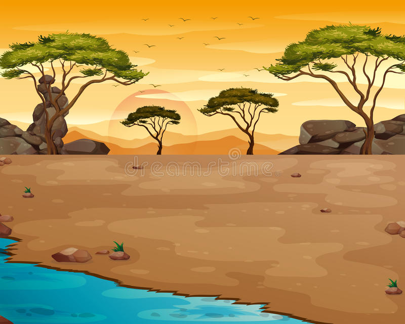 Escena de la naturaleza con el río en la puesta del sol libre illustration