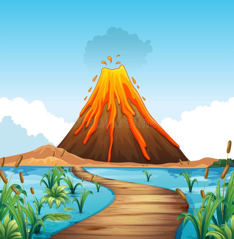 Escena de la naturaleza con la erupción del volcán por el lago stock de ilustración