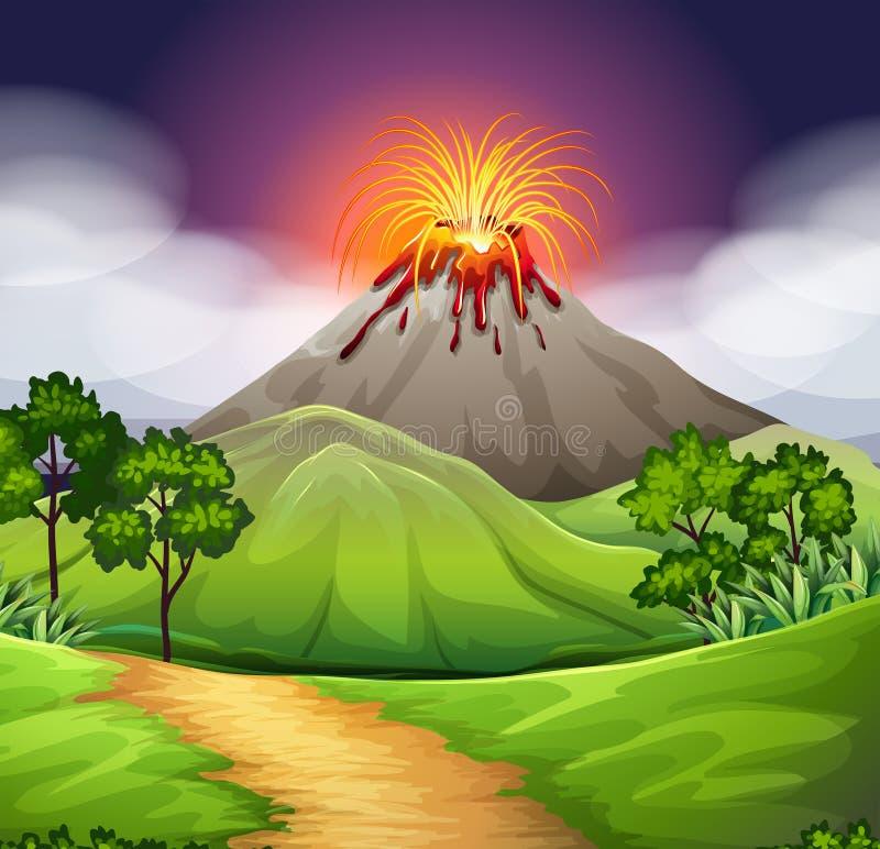 Escena de la naturaleza de la erupción del volcán ilustración del vector