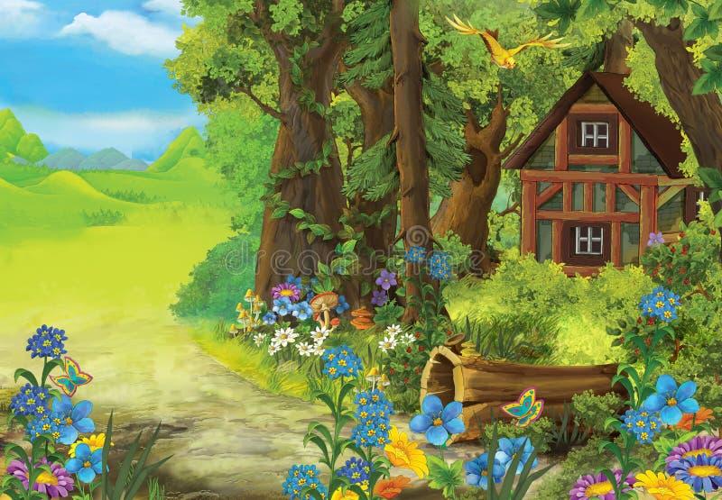 Escena de la naturaleza de la historieta con la casa vieja en el bosque ilustración del vector
