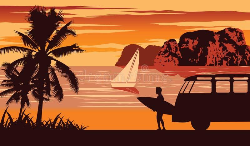 Escena de la naturaleza del mar en verano, tabla hawaiana del control del hombre cerca de la playa, diseño del color del vintage imagenes de archivo