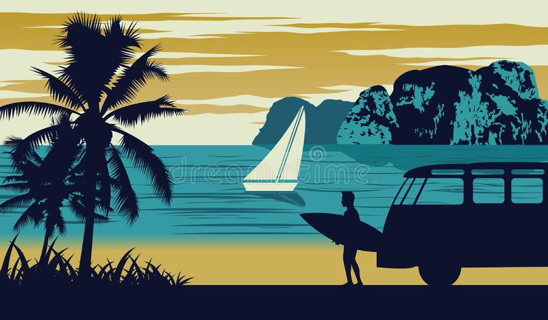 Escena de la naturaleza del mar en verano, tabla hawaiana del control del hombre cerca de la playa stock de ilustración