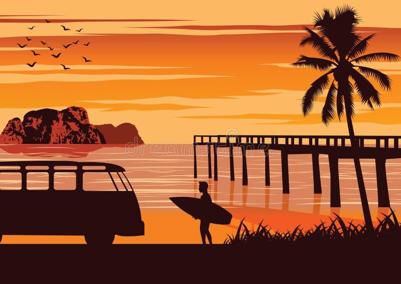 Escena de la naturaleza del mar en verano, de la tabla hawaiana del control del hombre cerca de la playa y del puerto de madera,  fotos de archivo libres de regalías