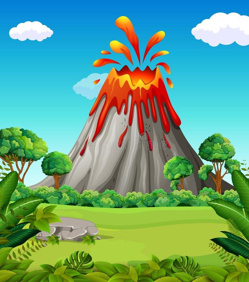 Escena de la naturaleza de la erupción del volcán libre illustration