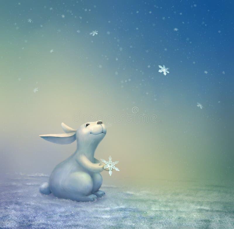 Escena de la Navidad con el conejito ilustración del vector
